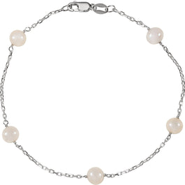 "Sterling Silver Freshwater Cultured Pearl Station 7.5"" Bracelet - Pranic Lifestyle"