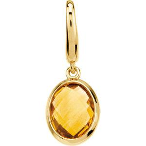 Genuine Citrine Charm - 14K Yellow Gold