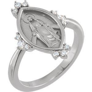 14K White Gold 1/5 CTW Diamond Miraculous Medal Ring