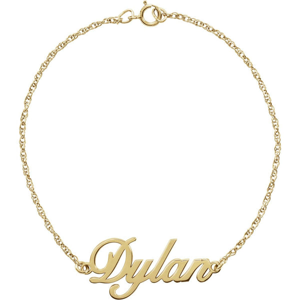 "14K Yellow Gold Script Nameplate 7.25"" Bracelet - Customization"
