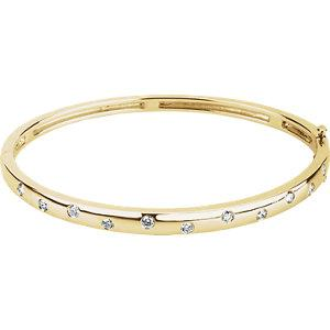 14K Yellow Gold 1/2 CTW Diamond Bangle Bracelet - Pranic Lifestyle