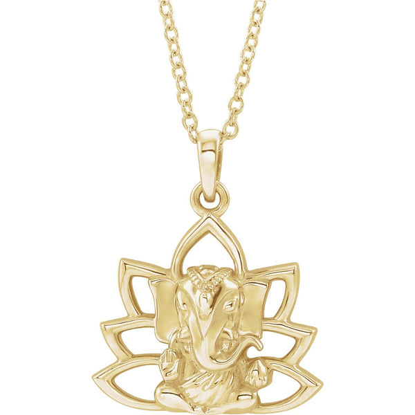 "14K Yellow Gold 16-18"" Ganesha Necklace - Pranic Lifestyle"