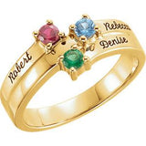 18K Rose 3-Stone Family Ring (Name Engravings) - Pranic Lifestyle