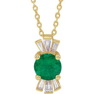 14K Yellow Emerald & 1/6 CTW Diamond Necklace
