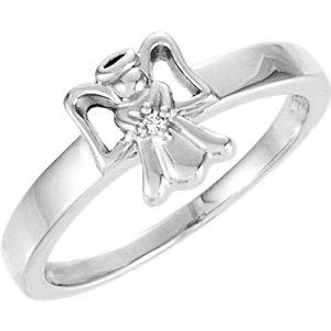 14K White .005 CT Diamond Angel Ring
