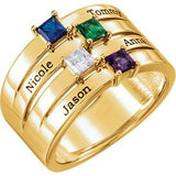 14K Yellow Gold 4-Stone Family Ring Mounting (Name Engravings) - Pranic Lifestyle