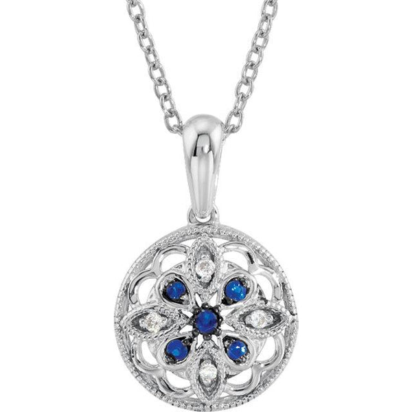 "Sterling Silver Blue Sapphire & .03 CTW Diamond 18"" Necklace - Pranic Lifestyle"