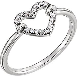 Sterling Silver .08 CTW Diamond Heart Ring - Pranic Lifestyle