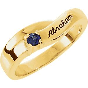 14K Yellow  Gold 1-Stone Family Ring Mounting (Name Engravings) - Pranic Lifestyle