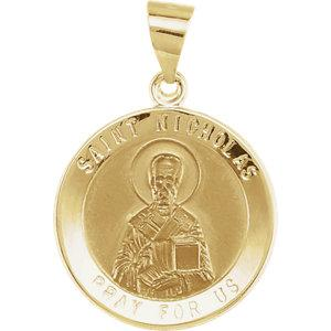 14K Yellow Gold 18 mm Round Hollow St. Nicholas Medal - Pranic Lifestyle