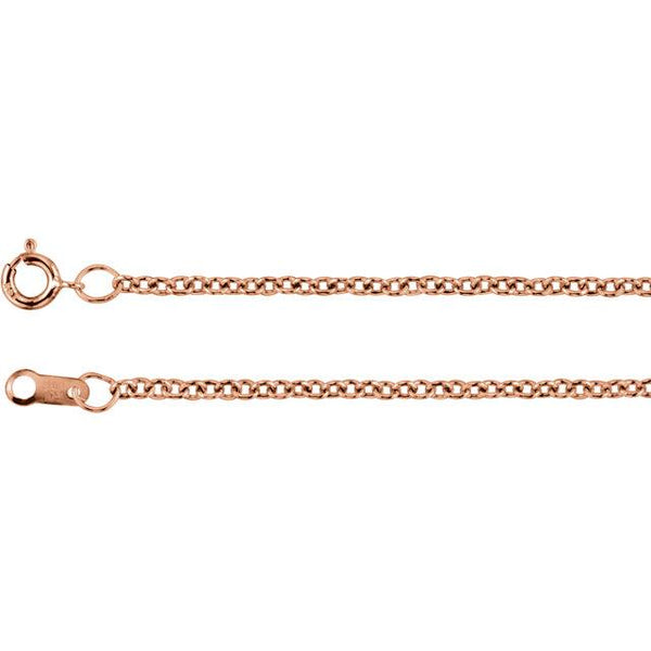 "18K Rose Gold 1.5 mm Solid Cable 16"" Chain - Pranic Lifestyle"