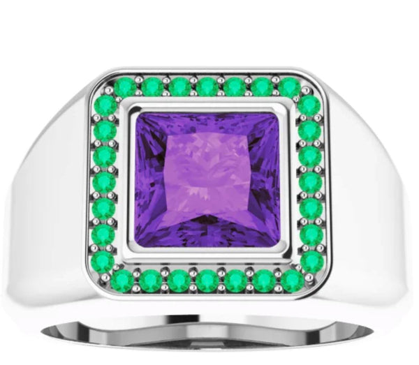 Amethyst and Emerald Spiritual Power Ring for Men - Pranic Lifestyle