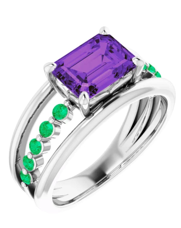 AMETHYST AND EMERALD SPIRITUAL POWER RING FOR WOMEN - Pranic Lifestyle