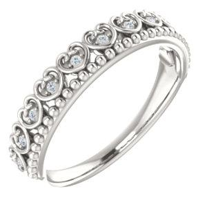 Sterling Silver .05 CTW Diamond Beaded Heart Stackable Ring - Pranic Lifestyle