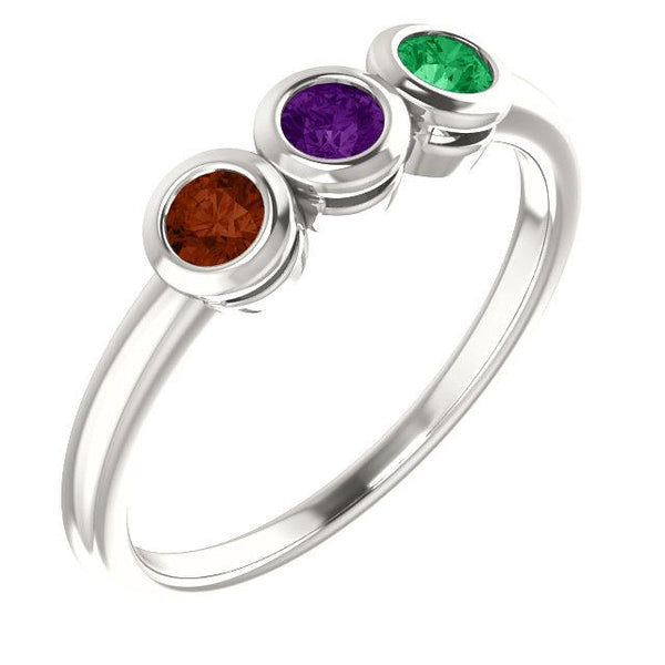 Sterling Silver 3-Stone Family Ring Mounting - Pranic Lifestyle