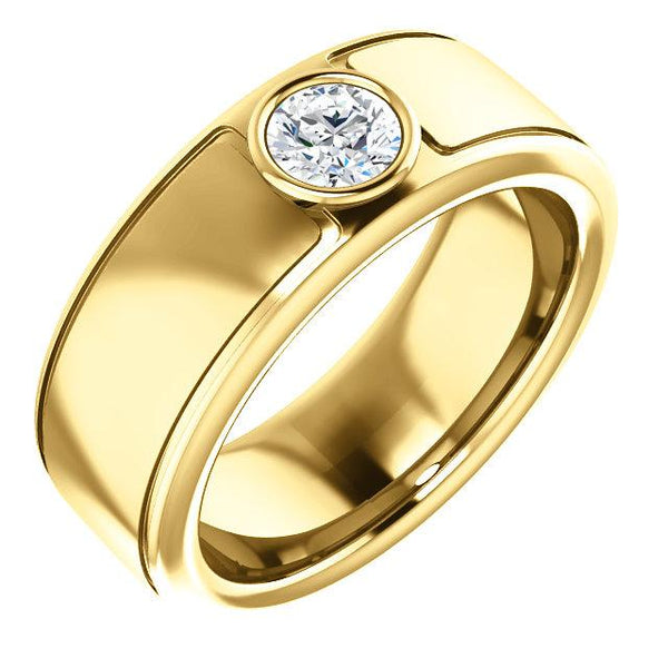 18K Yellow 5.2 mm Round Mens Ring Mounting - Pranic Lifestyle