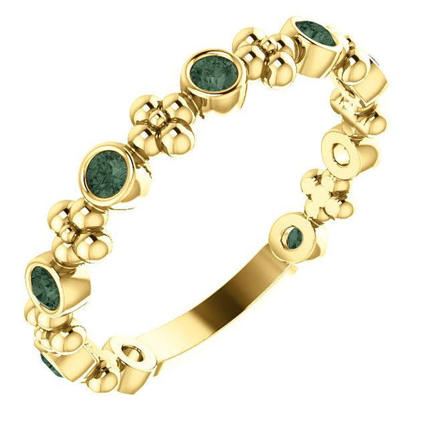 14K Yellow Gold Alexandrite Beaded Ring - Pranic Lifestyle