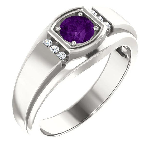 Sterling Silver 5.5 mm Round Men's Ring Mounting 1 Amethyst & 6 Diamond - Pranic Lifestyle