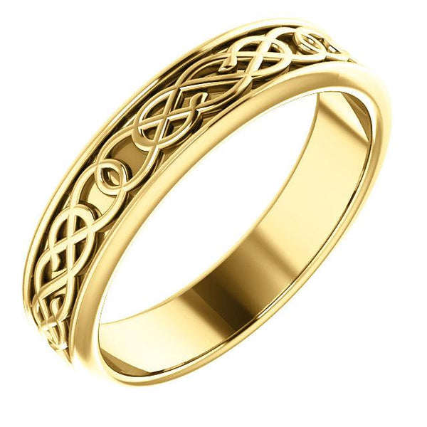 14K Yellow Gold 5 mm Celtic-Inspired Band