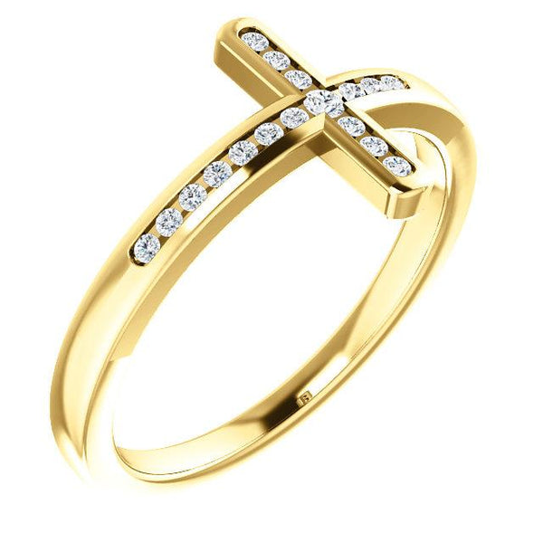 14K Yellow Gold 1/10 CTW Diamond Sideways Cross Ring