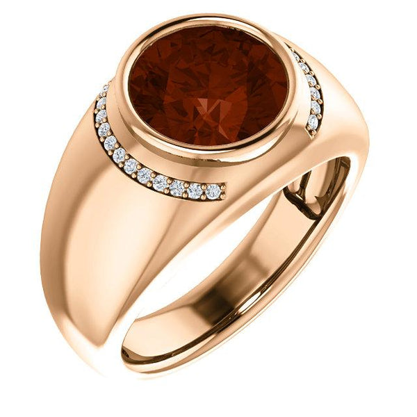 18K Rose Gold 10 mm Round Men's Ring Mounting 1 Garnet Mozambique & 24 Diamond - Pranic Lifestyle