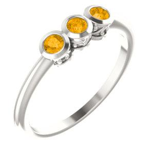 Sterling Silver Citrine Three-Stone Bezel-Set Ring - Pranic Lifestyle