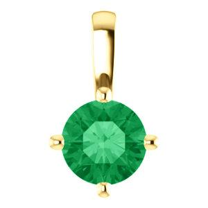 "14K Yellow Emerald Solitaire 16-18"" Necklace"