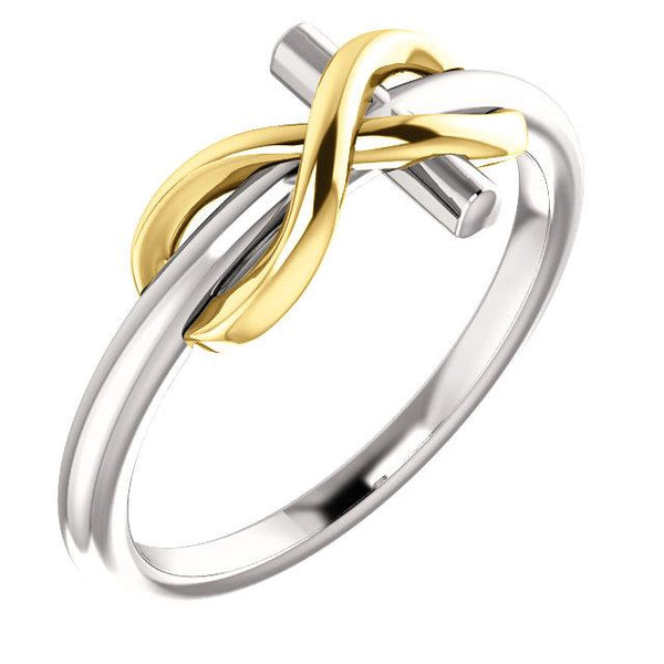 14K White & Yellow Gold Infinity-Inspired Cross Ring - Pranic Lifestyle