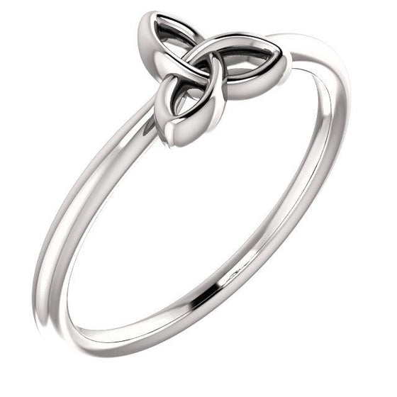 Platinum Stackable Celtic-Inspired Trinity Ring