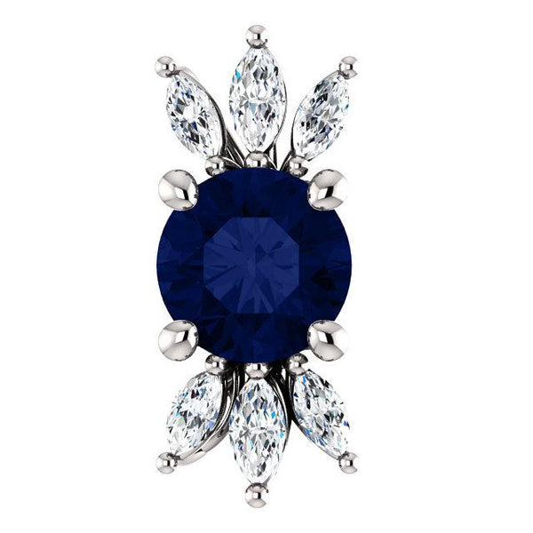 14K White Gold Blue Sapphire & 1/4 CTW Diamond Pendant - Pranic Lifestyle