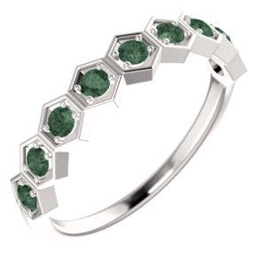 14K White Gold Alexandrite Stackable Ring - Pranic Lifestyle