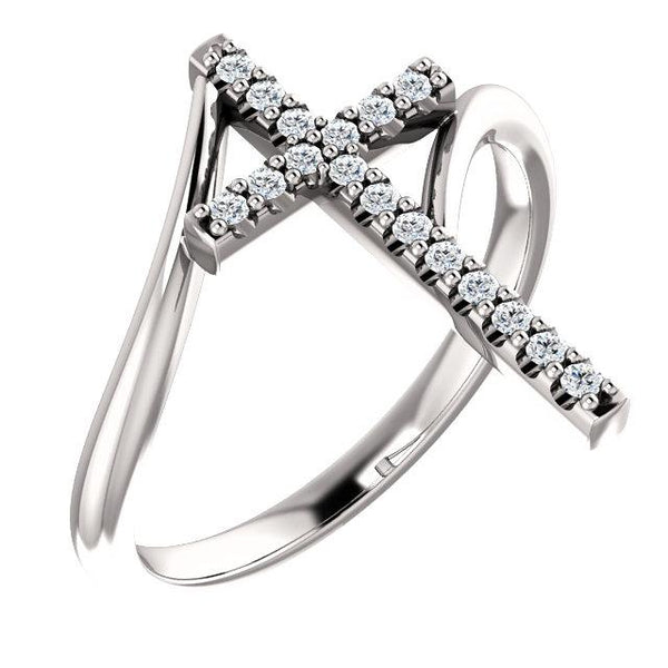 Platinum 1/8 CTW Diamond Cross Ring - Pranic Lifestyle