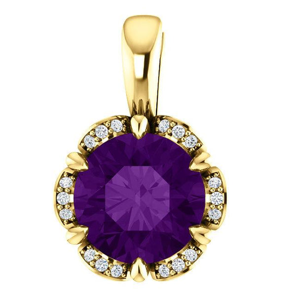 14K Yellow Amethyst & .05 CTW Diamond Pendant