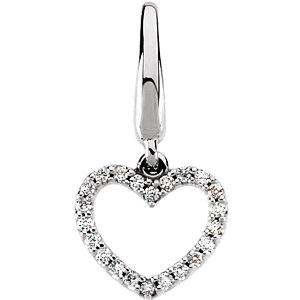 14K White Gold 1/8 CTW Diamond Heart Charm - Pranic Lifestyle