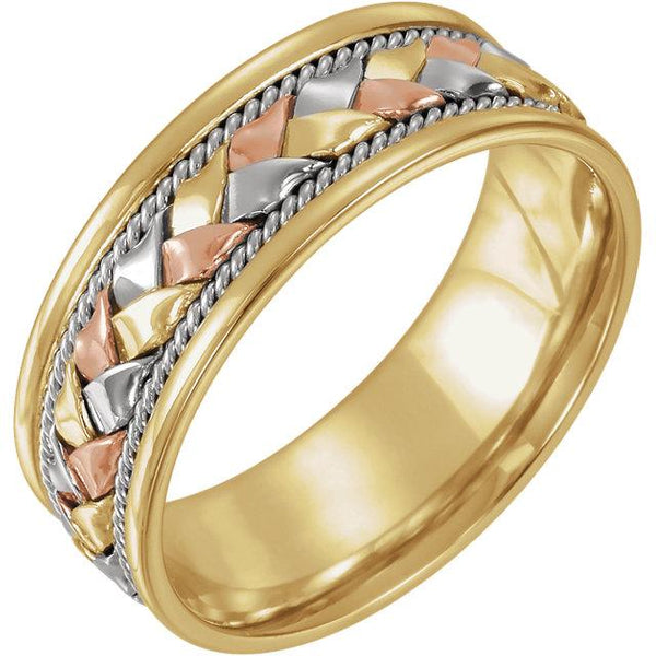 14K Yellow & White & Rose Gold 8 mm Comfort-Fit Woven Band