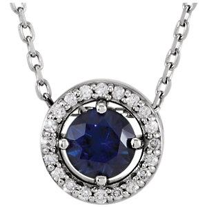 "14K White Gold Blue Sapphire & .05 CTW Diamond 16"" Necklace - Pranic Lifestyle"