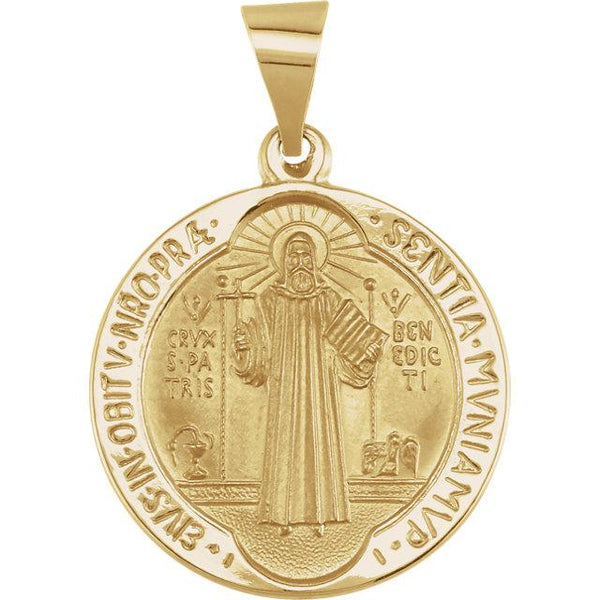 14K Yellow Gold 18 mm Round Hollow St. Benedict Medal - Pranic Lifestyle