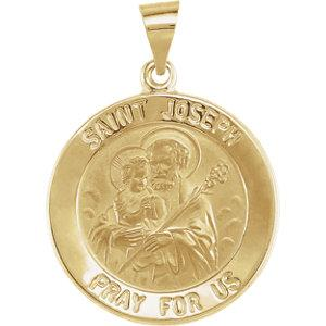 14K Yellow Gold 22 mm Round Hollow Joseph Medal - Pranic Lifestyle
