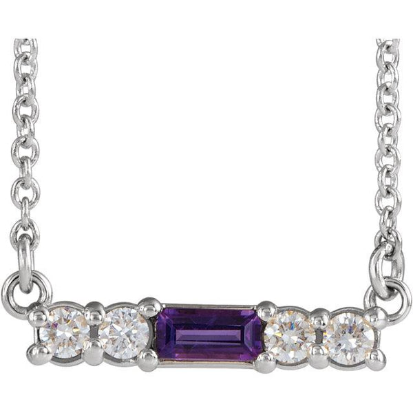 "14K White Gold Amethyst & 1/5 CTW Diamond 16"" Necklace - Pranic Lifestyle"