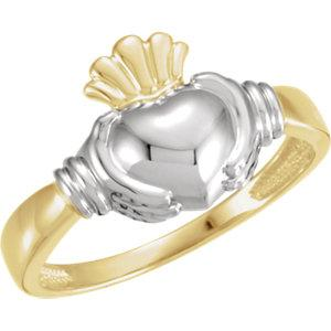 18K Yellow & White Men's Claddagh Ring - Pranic Lifestyle