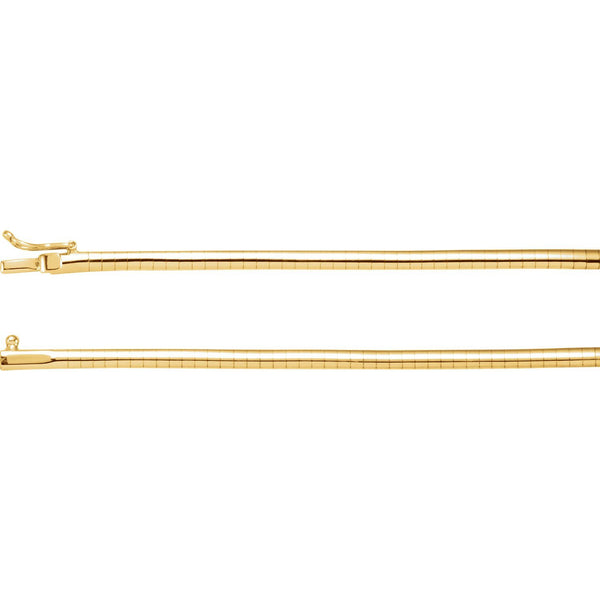 "14K Yellow Gold 3 mm Omega 16"" Chain"