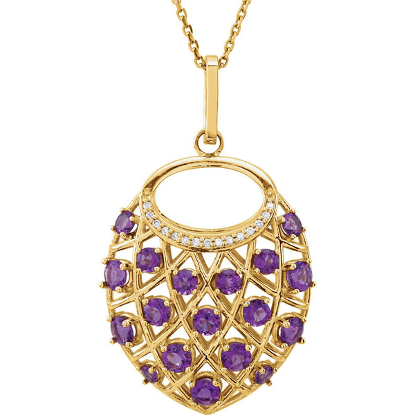 "14K Yellow Amethyst & .04 CTW Diamond Nest 18"" Necklace - Pranic Lifestyle"