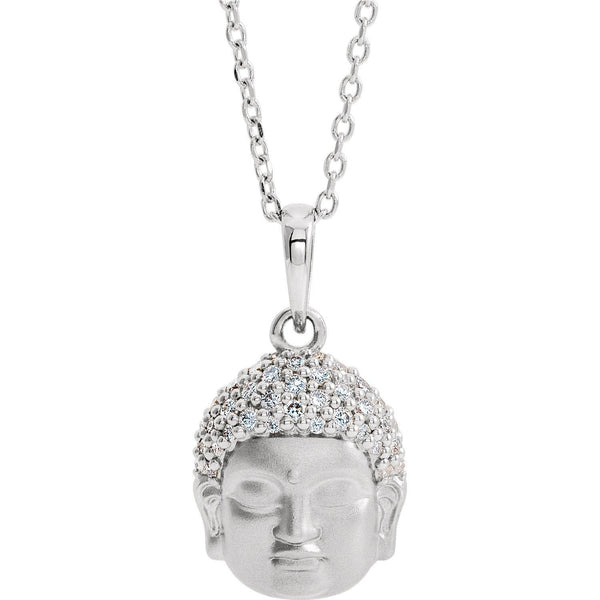 "Platinum 1/8 CTW Diamond Buddha 16-18"" Necklace - Pranic Lifestyle"