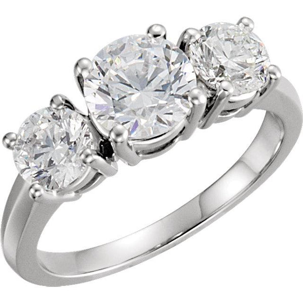 14K White Gold Three-Stone Anniversary Ring
