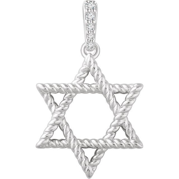 14K White Gold .025 CTW Diamond Star of David Pendant - Pranic Lifestyle