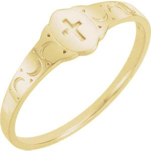 14K Yellow Gold Youth Signet Ring with Cross - Pranic Lifestyle