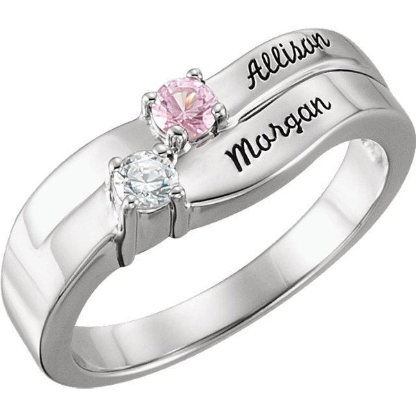 18K White 2-Stone Family Ring Mounting(Name Engravings) - Pranic Lifestyle