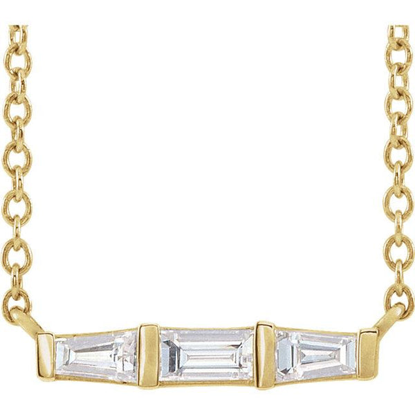 "14K Yellow Gold 1/8 CTW Diamond 18"" Three-Stone Bar Necklace - Pranic Lifestyle"