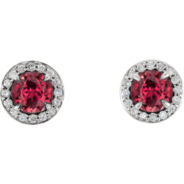 14K White 5 mm Round Ruby & 1/6 CTW Diamond Earrings