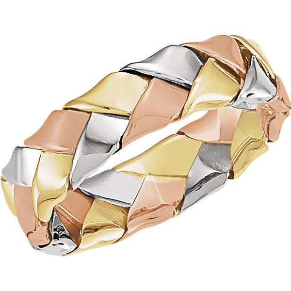 14K White, Yellow, & Rose Gold 5.5 mm Woven Band